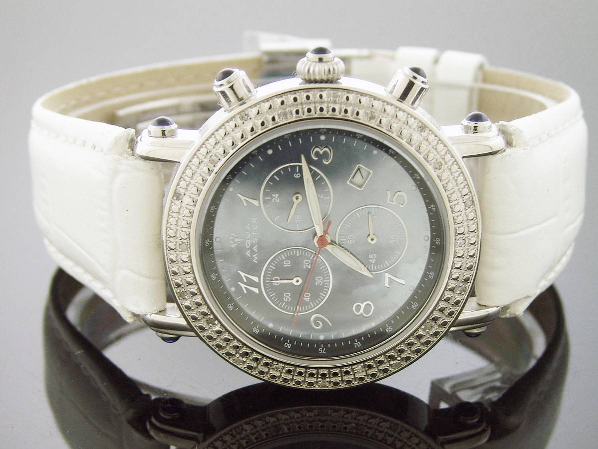 Aqua Master Round 40MM 20 Diamond Watch Dark M-O-P Face white Band