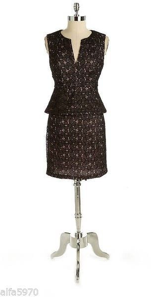 ADRIANNA PAPELL Black Lace Peplum Cocktail Dress- SIZE US 6 - NWT/ MSRP $228