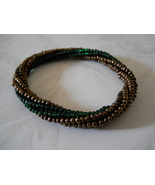 Beaded Bangle Bracelet, Bronze & Emerald Green; Tubular Spiral Herringbone - $29.00
