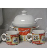 Campbell's Soup Tureen, Lid, Ladle & 2 Mugs By Houston Harvest Gift Prod... - $29.99