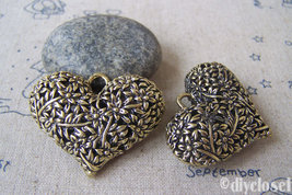 2 pcs of Antique Bronze Brass 3D Filigree Heart Charms 32x42mm A4676 - $3.45