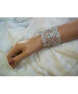 Silver Sequin Wrist Cuff, Sequin Bracelet, Sequin Bridal Bridesmaid Acce... - $10.99