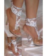 White Flower Barefoot Sandals, Beach Wedding Sandals, Bottomless Sandals  - $17.99