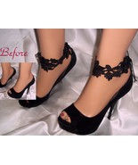 Black Lace Anklets, Ankle Cuffs, Ankle Bracelets, Black Lace Accessories - $12.99