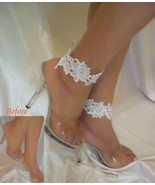 White Lace Anklets, Ankle Bracelets, Anklets, Ankle Cuffs, Barefoot Sandals - $14.99