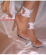 White Flower Cuff Anklets, Ankle Bracelets, White Lace Ankle Cuffs, Acce... - $14.99