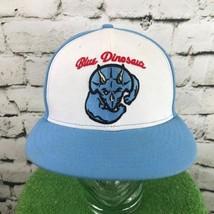 Blue Dinosaur Mens One Sz Hat Flat Bill Snapback Baseball Cap Flaw - $19.79