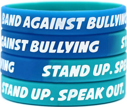 20 BAND AGAINST BULLYING wristbands STAND UP bracelets SPEAK OUT awarene... - $18.88