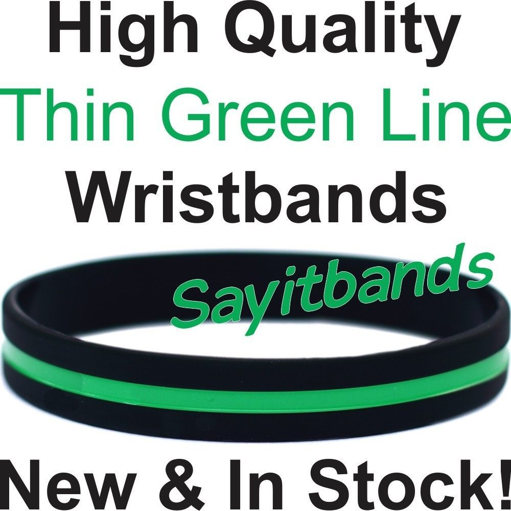 Primary image for 100 Thin Green Line Wristband Bracelets Debossed Color Filled Wrist Band 2 Sizes