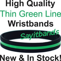 100 Thin Green Line Wristband Bracelets Debossed Color Filled Wrist Band... - $34.88