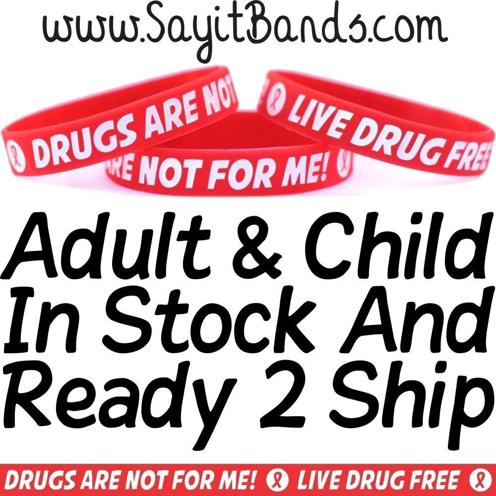 Primary image for 100 Red Ribbon Wristbands Live Drug Free Drugs Not For Me Bracelets Adult Child