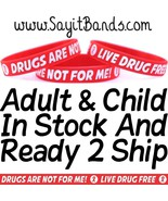 100 Red Ribbon Wristbands Live Drug Free Drugs Not For Me Bracelets Adul... - $34.88