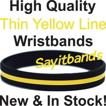 100 Thin Yellow Line Wristband Bracelets Wear for Awareness & Support, A... - $34.88