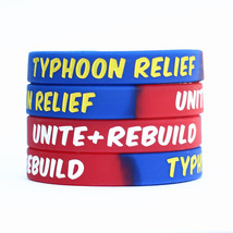 50 Silicone Typhoon Relief Wristbands Unite and Rebuild Awareness Bracel... - $19.88