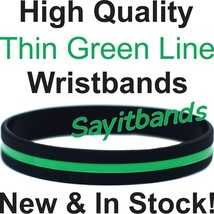 50 Thin Green Line Wristband Bracelets Show Support Awareness w/your Wri... - $23.88