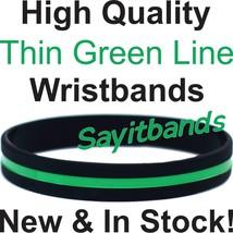 50 Thin Green Line Wristband Bracelets Show Support Awareness w/your Wri... - $23.88