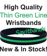25 Thin Green Line Wristband Bracelets Show Support Wear Green Adult Chi... - $18.88