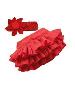 New Baby Girl Red Bloomer ruffle Skirt W/T Headband. Fits 9-18months - $17.00
