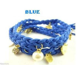 Braided Leather Blue Bracelet Wristband Strand With Charms - - $14.99
