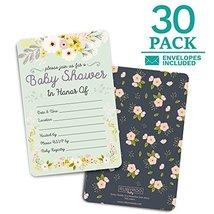 Baby Shower Invitations. 30 cards + envelopes. Shower Games. Girl. Floral - $10.44