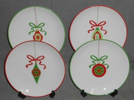 Set (4) Crate & Barrel CHRISTMAS ORNAMENTS Porcelain SALAD or DESSERT PL... - $29.69