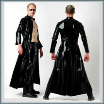 "Men's Matrix ""Wet Look"" Shiny Faux Latex Leather Coat Jacket and/or Add Pants  image 1"