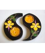 Ying Yin Yang Thai Mango Wood Flower Crystal Candle Holders - $15.00