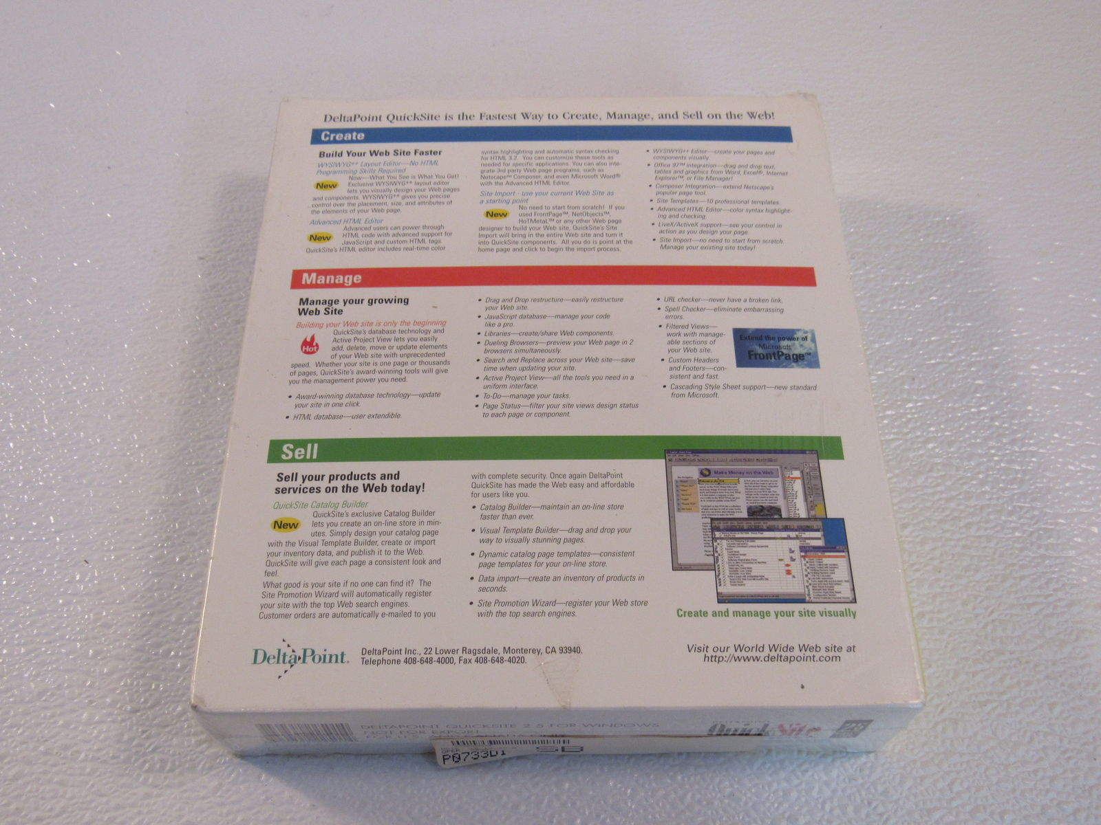 Deltapoint QuickSite 2.5 Sell On The Web Windows 95 NT 4.0 152265 Vintage