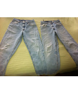 2 pairs Levi's 560 blue jeans 32x32 w. holes used for cutoffs shorts - $21.78