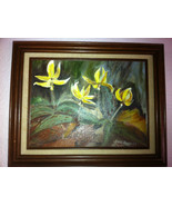 framed vintage painting floral yellow flowers Glasener 15-1/2 x 12-1/2 - $94.05