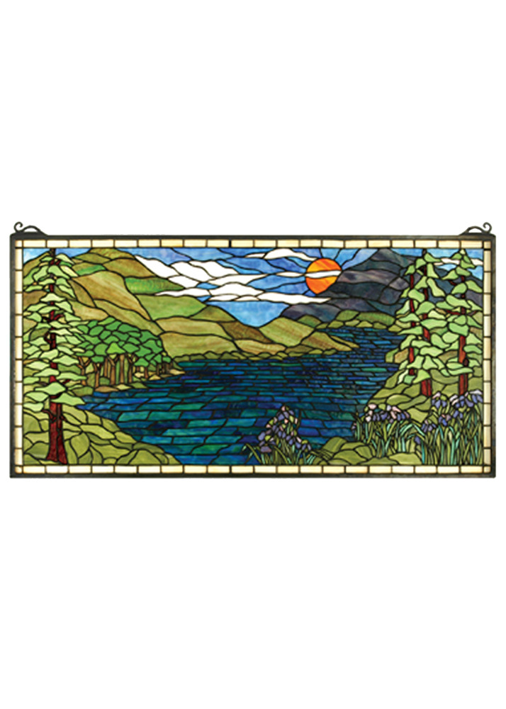 Meyda home decorative 40 w x 20 h sunset meadow stained for 20 40 window
