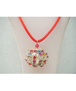 Red Multicolored Glass Rhinestone Pendant  with... - $14.75