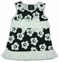 Mud Pie Tres Jolie Black w/White Flowers Pleated Dress NWT Girls 0-6 Months - $24.74