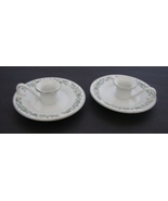 "MIKASA CANDLE HOLDERS""MONTCLAIR"" Fine China. Set of Two. Green Floral - $5.99"