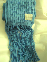 "Echo Soft blue acrylic basket weave knit long fringe scarf MINT 74"" x 7"" - $26.45"