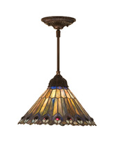 "Meyda 12""W Tiffany Jeweled Peacock Pendant Lighting Ceiling Fixture - 1235-48926 - $302.40"