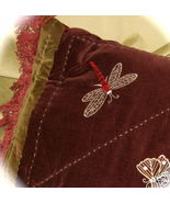 PAIR Cotton Velvet Applique Fringed Dragonfly Pillows - $35.00