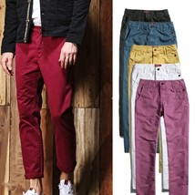 Fashion New Men's Casual Pants Slim Solid Color Push Size 8 Colors  - $44.88