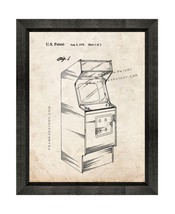 Video Game Cabinet Patent Print Old Look with Beveled Wood Frame - $24.95+