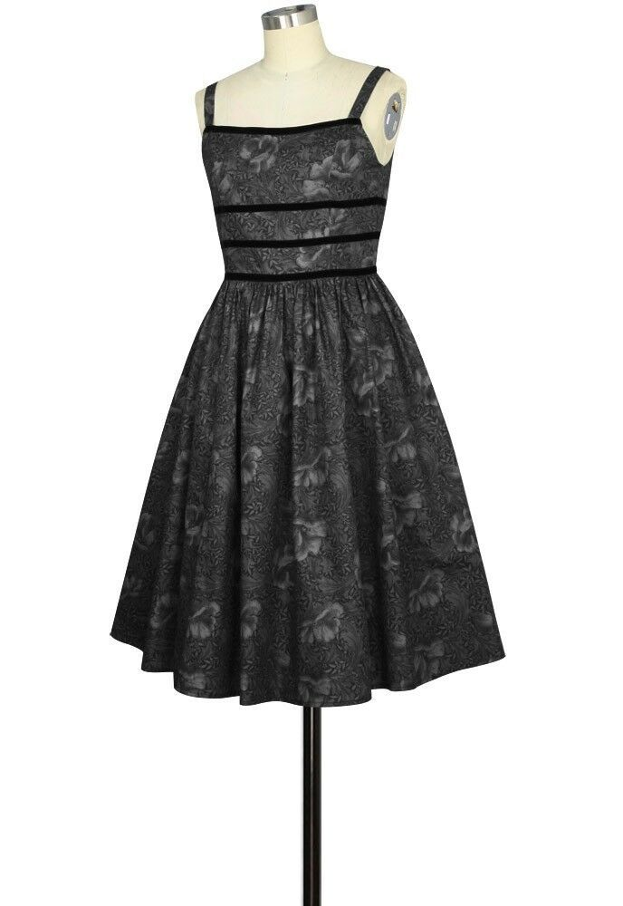 Grey Black Blue Flower Rockabilly Retro Swing Dress Vintage 50s Pin Up Party