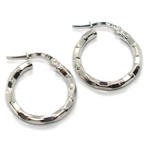 White Gold Earrings 750 18K, Circle, Faceted, to Chess, Hammered, 2 CM - $167.42