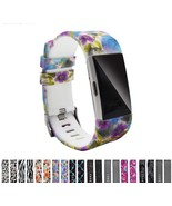 Printed Pattern Silicone Strap Replacement For Fitbit Charge 2 Band Meta... - $7.98
