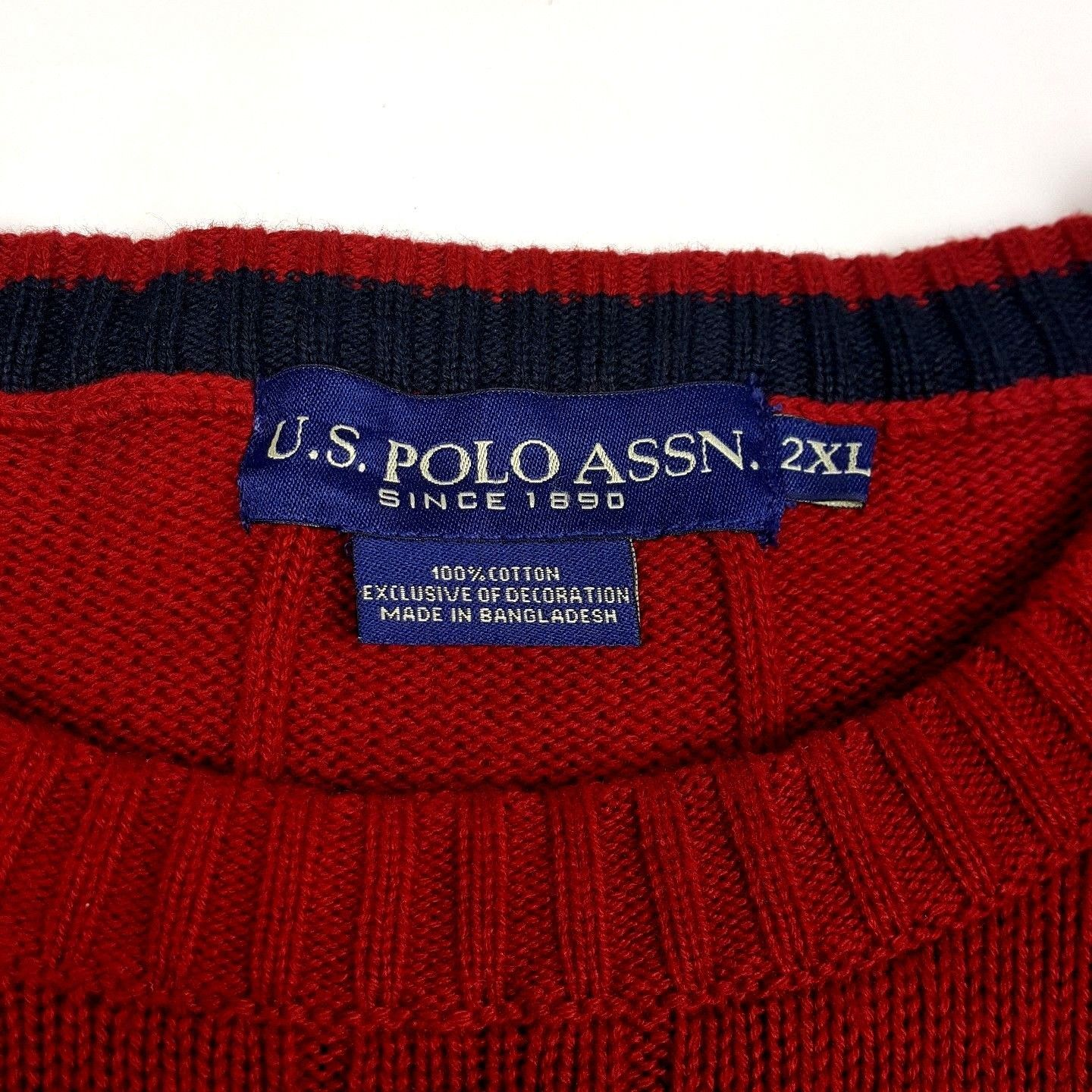 US Polo Assn. Men Size 2XL Red Cable Knit Long Sleeve Sweater Crewneck EUC