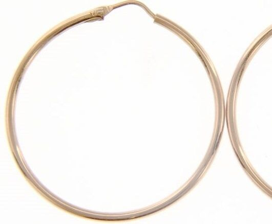 18K ROSE GOLD ROUND CIRCLE EARRINGS DIAMETER 30 MM WIDTH 1.7 MM, MADE IN ITALY