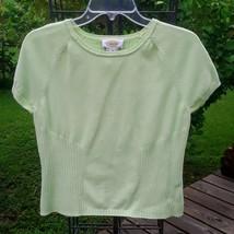 TALBOTS Light Green Pullover SHELL Sweater Cotton Short Sleeve Scoop Nec... - $19.00
