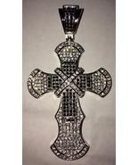Sterling 925 Silver Black Onyx CZ Cross Charm Pendant 3.4 inches 35 gm b... - $149.99