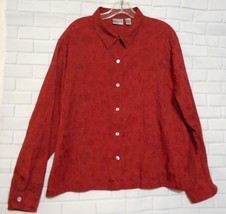 Chico's Red Size 3 Cotton Blend Career Printed Long Sleeve  Over Blouse - $23.19