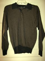 Hart Schaffer Marx gray tan merino wool silk knit polo sweater M MINT Italy - $39.59