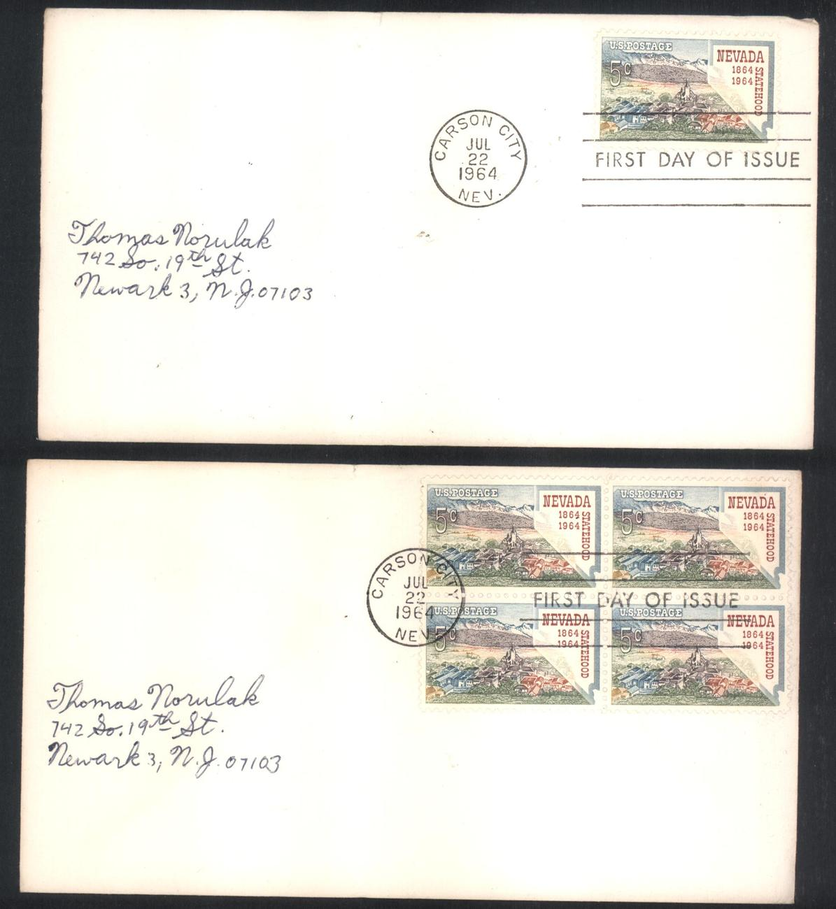 Nevada Statehood first day covers single & block of 4 Jul 22, 1964