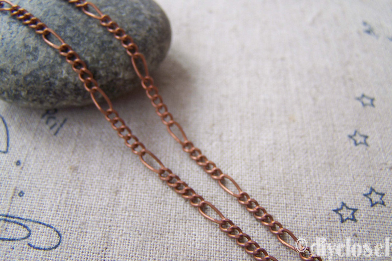 16ft (5m) of Antique Copper Brass Mother And Son Twist Jewelry Chain Link 2.5x6m